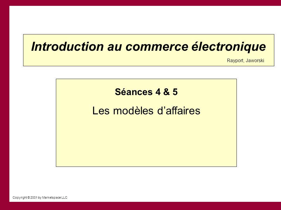 Last Updated: 09/12/01 Copyright 2001 by Marketspace LLC Modèles daffaires Objectifs daujourdhui Développer une compréhension des modèles daffaires Quelle est la position concurrentielle de lentreprise.