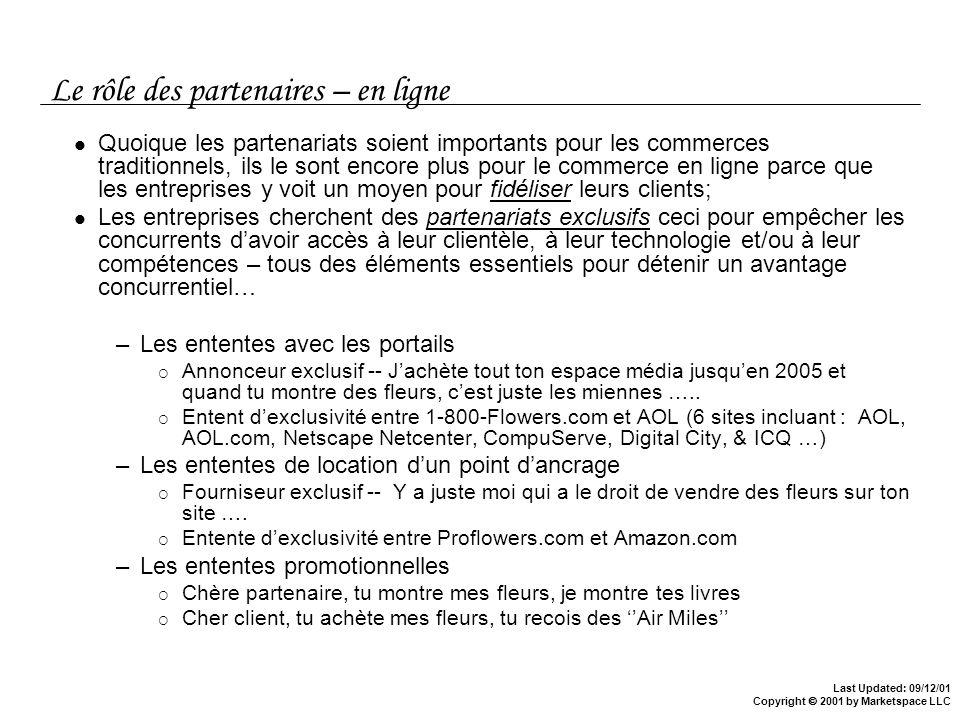 Last Updated: 09/12/01 Copyright 2001 by Marketspace LLC Le rôle des partenaires – en ligne Quoique les partenariats soient importants pour les commer