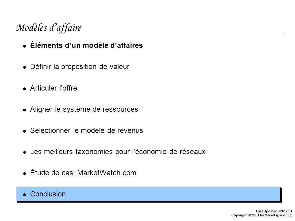 Last Updated: 09/12/01 Copyright 2001 by Marketspace LLC Modèles daffaire Éléments dun modèle daffaires Définir la proposition de valeur Articuler lof