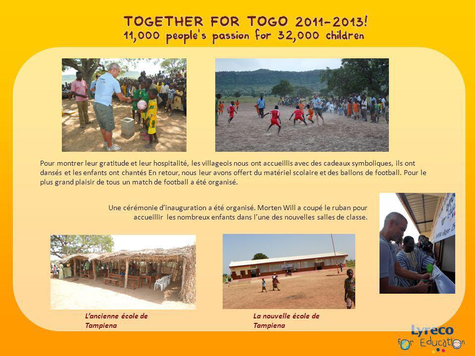 Pour montrer leur gratitude et leur hospitalité, les villageois nous ont accueillis avec des cadeaux symboliques, ils ont dansés et les enfants ont chantés En retour, nous leur avons offert du matériel scolaire et des ballons de football.
