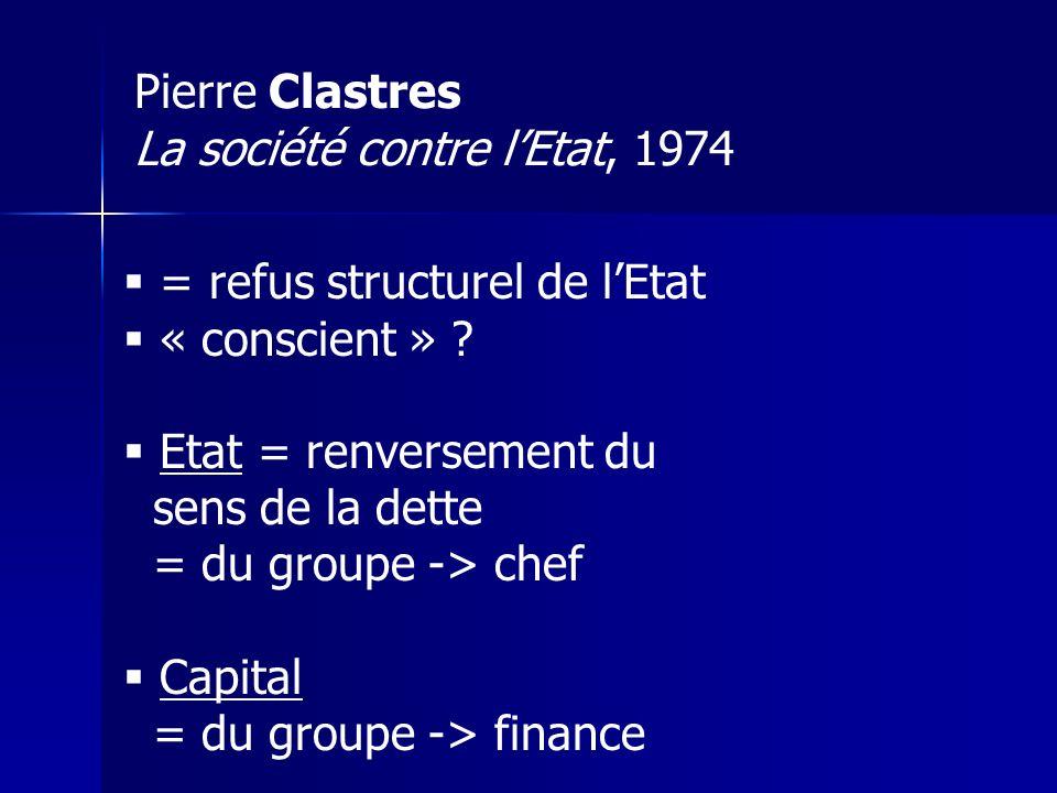 Pierre Clastres La société contre lEtat, 1974 = refus structurel de lEtat « conscient » .