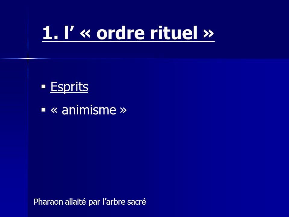 Esprits « animisme » 1. l « ordre rituel » Pharaon allaité par larbre sacré