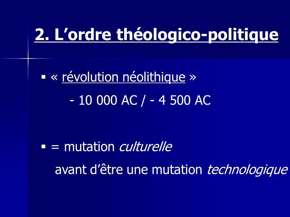« révolution néolithique » - 10 000 AC / - 4 500 AC = mutation culturelle avant dêtre une mutation technologique 2.