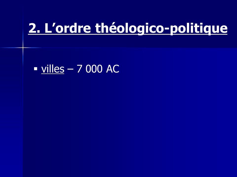 villes – 7 000 AC 2. Lordre théologico-politique
