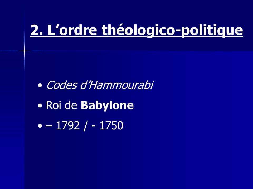 Codes dHammourabi Roi de Babylone – 1792 / - 1750 2. Lordre théologico-politique