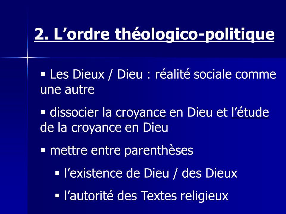 Les Dieux / Dieu : réalité sociale comme une autre dissocier la croyance en Dieu et létude de la croyance en Dieu mettre entre parenthèses lexistence de Dieu / des Dieux lautorité des Textes religieux 2.