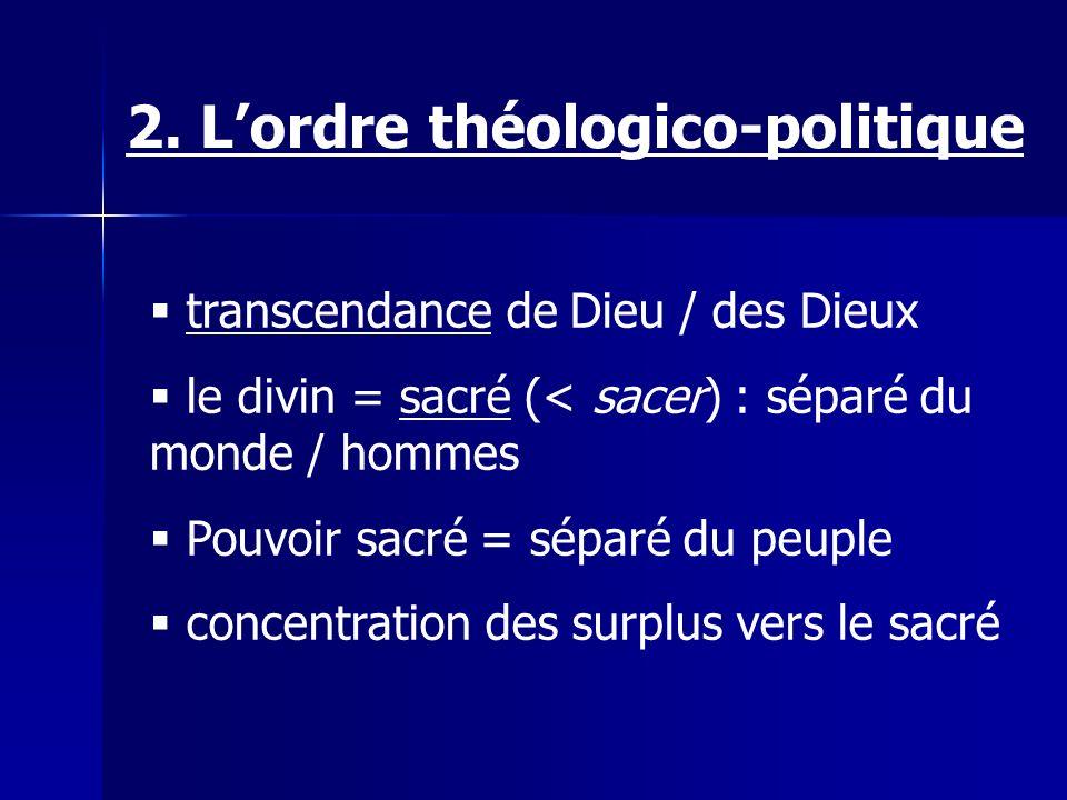 transcendance de Dieu / des Dieux le divin = sacré (< sacer) : séparé du monde / hommes Pouvoir sacré = séparé du peuple concentration des surplus vers le sacré 2.