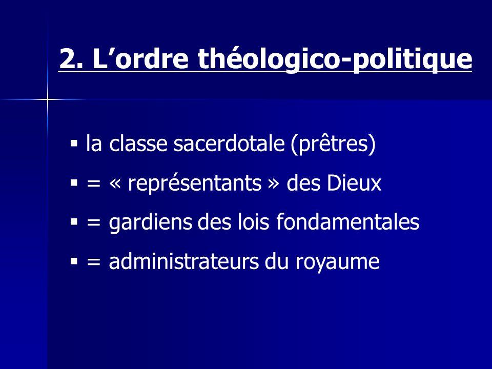 la classe sacerdotale (prêtres) = « représentants » des Dieux = gardiens des lois fondamentales = administrateurs du royaume 2.