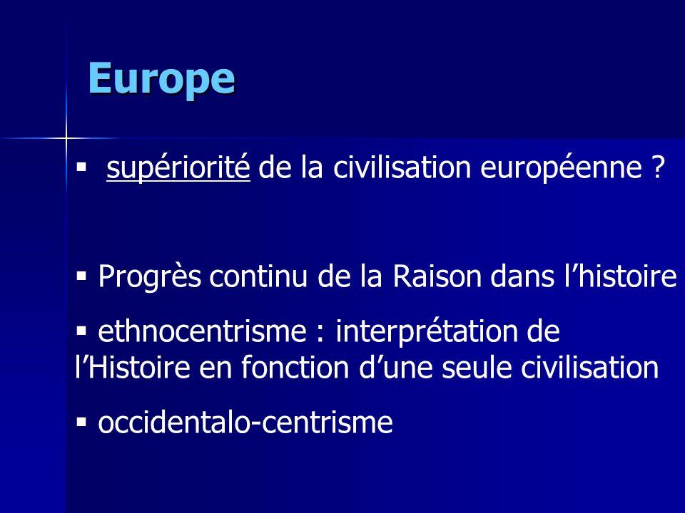 Europe supériorité de la civilisation européenne .