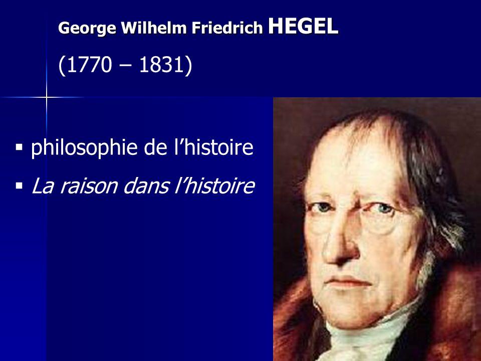 George Wilhelm Friedrich HEGEL (1770 – 1831) philosophie de lhistoire La raison dans lhistoire
