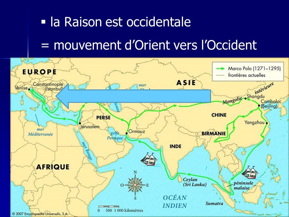 la Raison est occidentale = mouvement dOrient vers lOccident