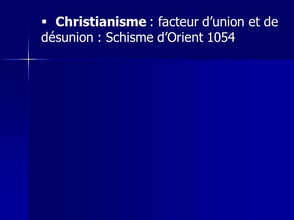 Christianisme : facteur dunion et de désunion : Schisme dOrient 1054