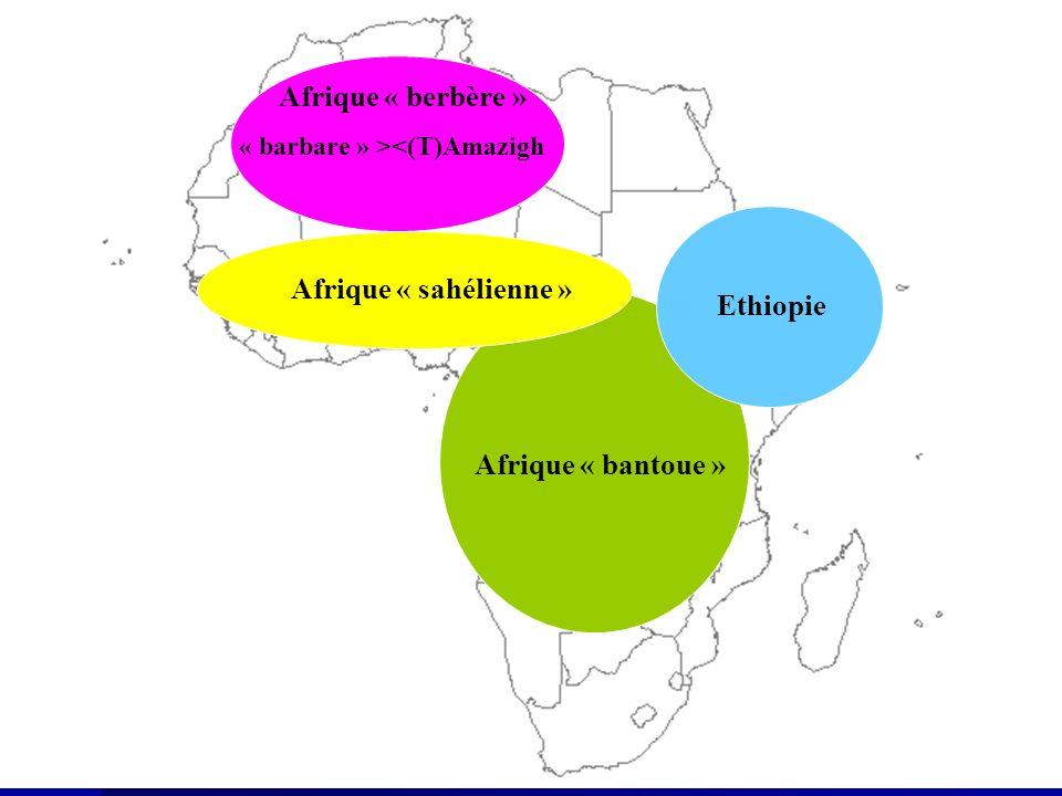 Les royaumes africains Les royaumes africains Abyssinie Abyssinie (1 e / apogée 5 e ) Kanem Kanem (9 e /14 e ) Zimbabwe Zimbabwe (12 e / 14 e ) Afrique « berbère » « barbare » ><(T)Amazigh Afrique « bantoue » Ethiopie Afrique « sahélienne »