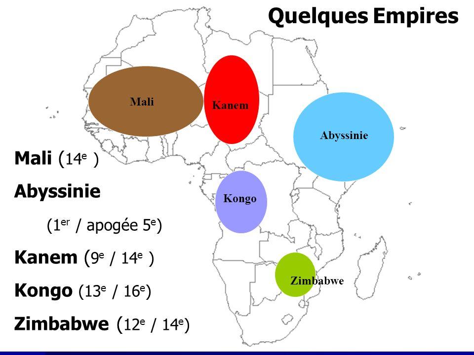 Les royaumes africains Les royaumes africains Abyssinie Abyssinie (1 e / apogée 5 e ) Kanem Kanem (9 e /14 e ) Zimbabwe Zimbabwe (12 e / 14 e ) Mali ( 14 e ) Abyssinie (1 er / apogée 5 e ) Kanem ( 9 e / 14 e ) Kongo (13 e / 16 e ) Zimbabwe ( 12 e / 14 e ) Abyssinie Quelques Empires Kanem Mali Zimbabwe Kongo