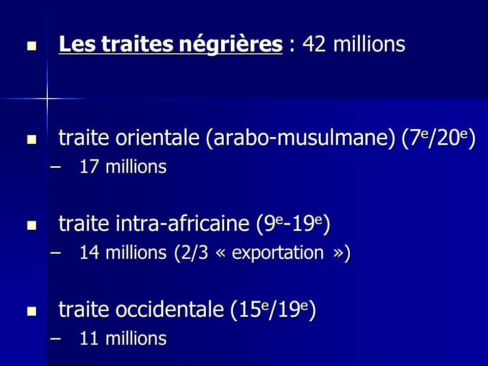Les traites négrières : 42 millions Les traites négrières : 42 millions traite orientale (arabo-musulmane) (7 e /20 e ) traite orientale (arabo-musulmane) (7 e /20 e ) –17 millions traite intra-africaine (9 e -19 e ) traite intra-africaine (9 e -19 e ) –14 millions (2/3 « exportation ») traite occidentale (15 e /19 e ) traite occidentale (15 e /19 e ) –11 millions