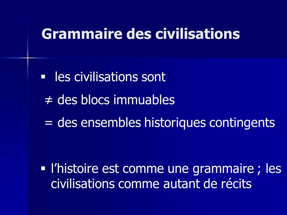 les civilisations sont des blocs immuables = des ensembles historiques contingents lhistoire est comme une grammaire ; les civilisations comme autant de récits Grammaire des civilisations