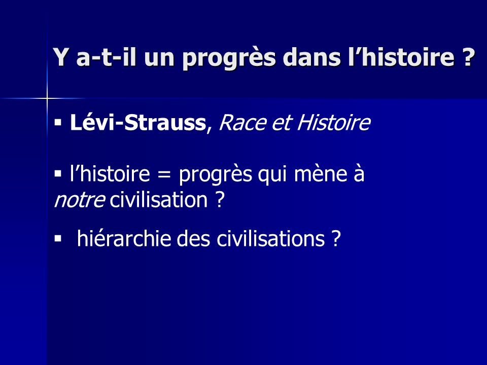 Lévi-Strauss, Race et Histoire lhistoire = progrès qui mène à notre civilisation .
