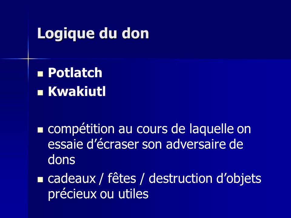 Logique du don Potlatch Kwakiutl compétition au cours de laquelle on essaie décraser son adversaire de dons cadeaux / fêtes / destruction dobjets précieux ou utiles