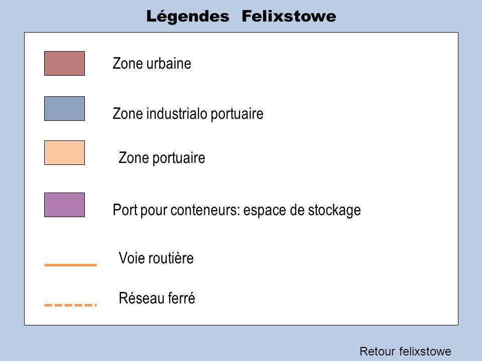 Légendes Felixstowe Retour felixstowe Zone urbaine Zone industrialo portuaire Zone portuaire Port pour conteneurs: espace de stockage Voie routière Ré