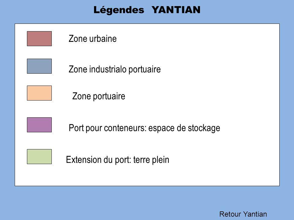 Légendes YANTIAN Retour Yantian Zone urbaine Zone industrialo portuaire Zone portuaire Port pour conteneurs: espace de stockage Extension du port: ter