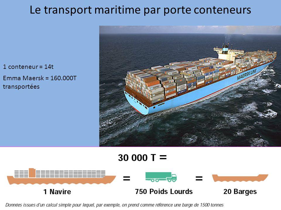 Le transport maritime par porte conteneurs 1 conteneur = 14t Emma Maersk = 160.000T transportées