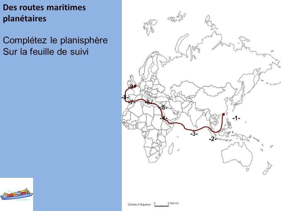 Des routes maritimes planétaires -1- -2- -3- -4- - 5- -6--7- -8- -9- Complétez le planisphère Sur la feuille de suivi