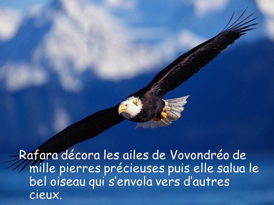 Vovondréo, qui avait un plumage plutôt terne, accepta avec joie. Il emporta Rafara sur son dos et la déposa devant la case de ses parents.
