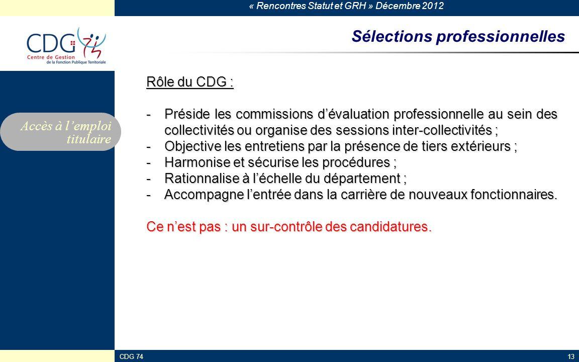 « Rencontres Statut et GRH » Décembre 2012 CDG 7413 Sélections professionnelles Rôle du CDG : -Préside les commissions dévaluation professionnelle au