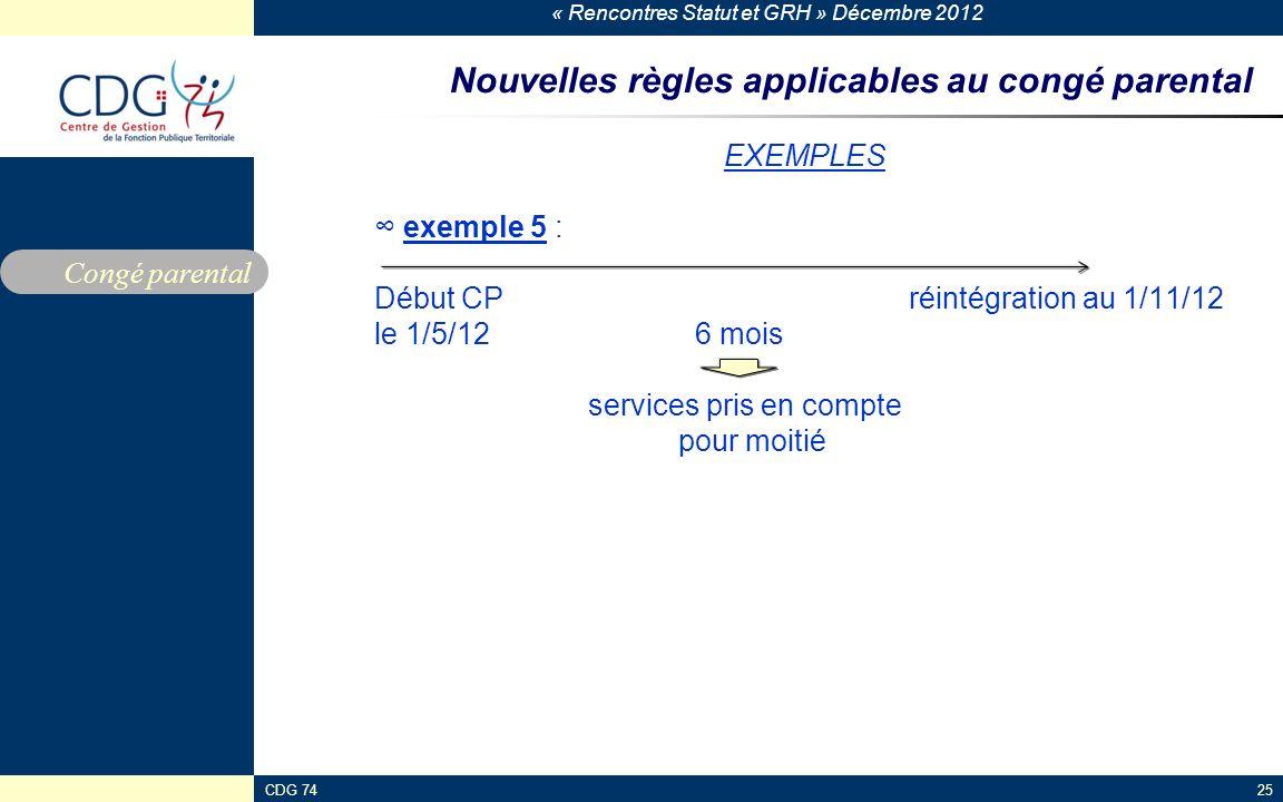 « Rencontres Statut et GRH » Décembre 2012 CDG 7425 Nouvelles règles applicables au congé parental EXEMPLES exemple 5 : Début CP réintégration au 1/11
