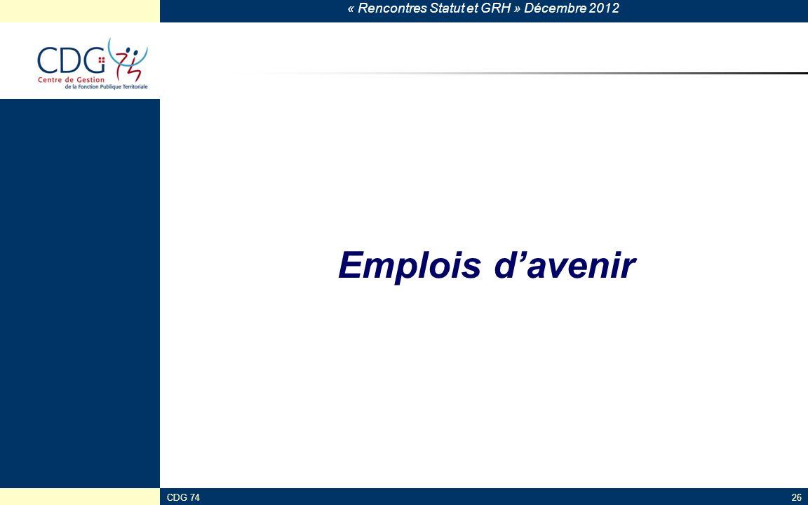 « Rencontres Statut et GRH » Décembre 2012 CDG 7426 Emplois davenir