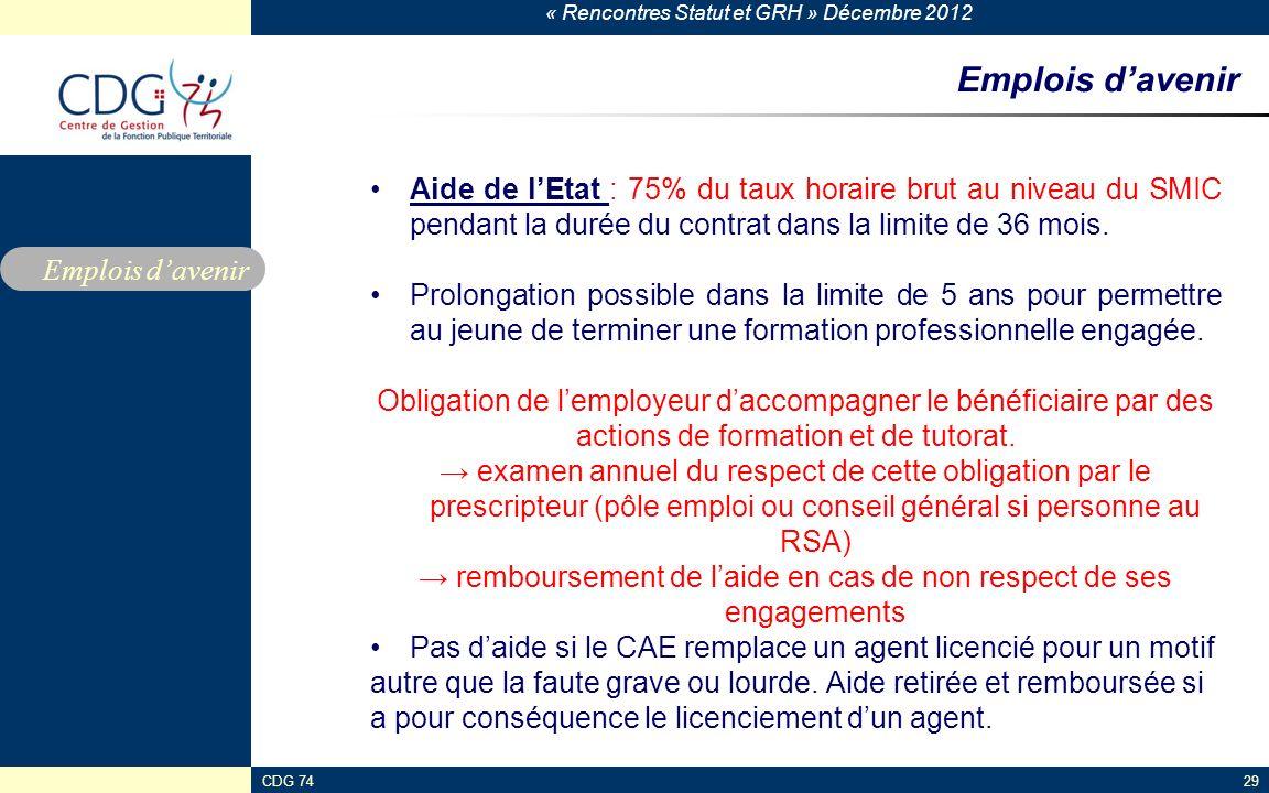 « Rencontres Statut et GRH » Décembre 2012 CDG 7429 Emplois davenir Aide de lEtat : 75% du taux horaire brut au niveau du SMIC pendant la durée du con