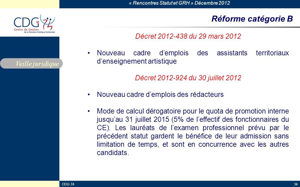 « Rencontres Statut et GRH » Décembre 2012 CDG 7434 Réforme catégorie B Décret 2012-438 du 29 mars 2012 Nouveau cadre demplois des assistants territor