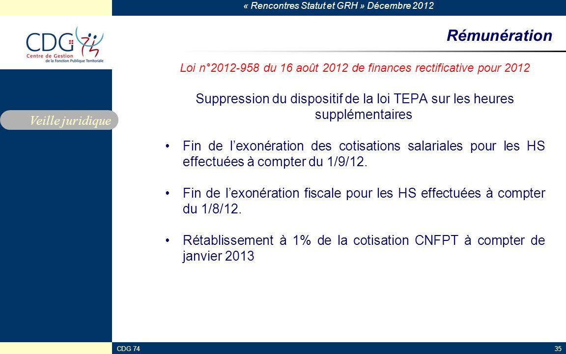« Rencontres Statut et GRH » Décembre 2012 CDG 7435 Rémunération Loi n°2012-958 du 16 août 2012 de finances rectificative pour 2012 Suppression du dis