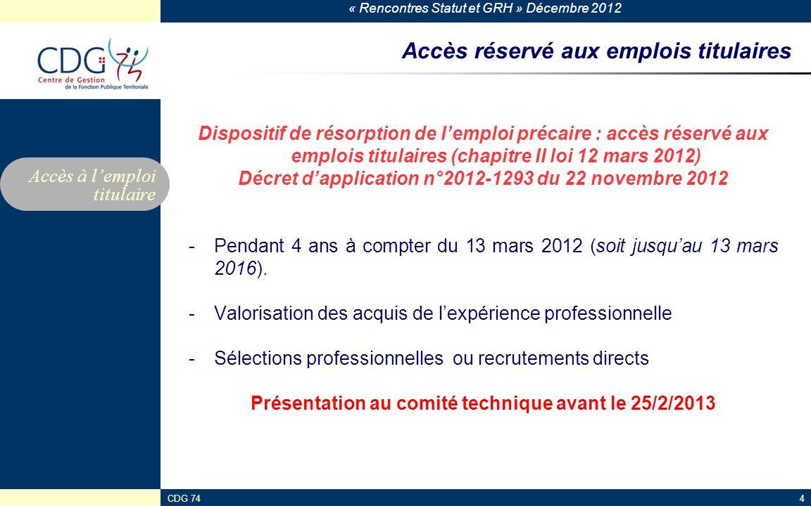 « Rencontres Statut et GRH » Décembre 2012 CDG 744 Accès réservé aux emplois titulaires Dispositif de résorption de lemploi précaire : accès réservé a