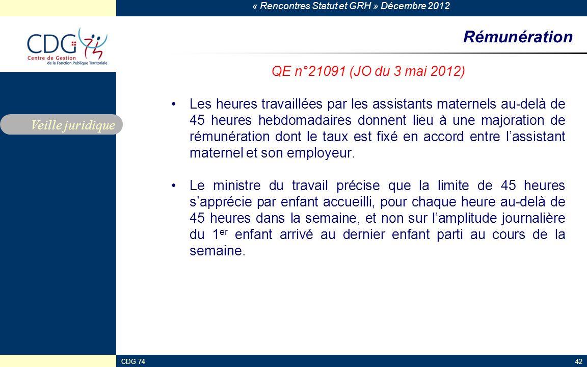 « Rencontres Statut et GRH » Décembre 2012 CDG 7442 Rémunération QE n°21091 (JO du 3 mai 2012) Les heures travaillées par les assistants maternels au-