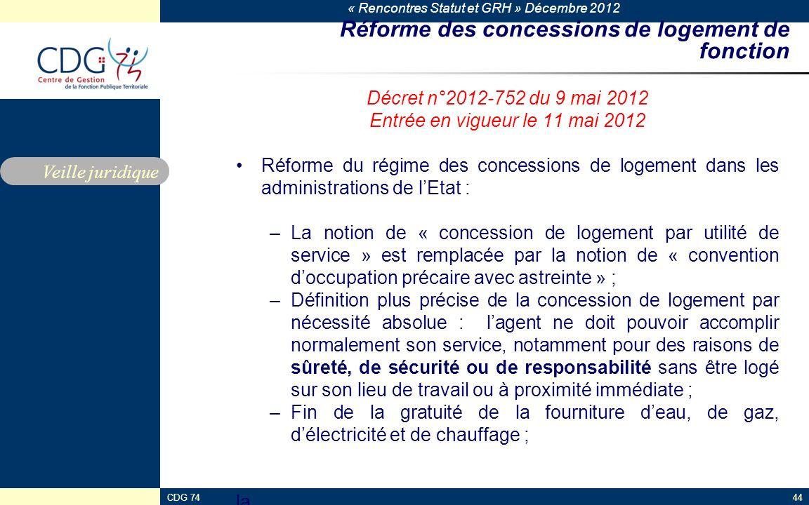 « Rencontres Statut et GRH » Décembre 2012 CDG 7444 Réforme des concessions de logement de fonction Décret n°2012-752 du 9 mai 2012 Entrée en vigueur