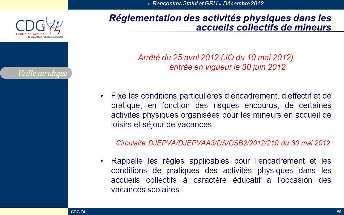 « Rencontres Statut et GRH » Décembre 2012 CDG 7450 Réglementation des activités physiques dans les accueils collectifs de mineurs Arrêté du 25 avril