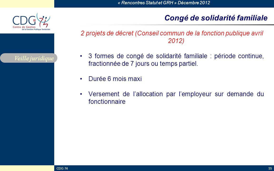 « Rencontres Statut et GRH » Décembre 2012 CDG 7455 Congé de solidarité familiale 2 projets de décret (Conseil commun de la fonction publique avril 20