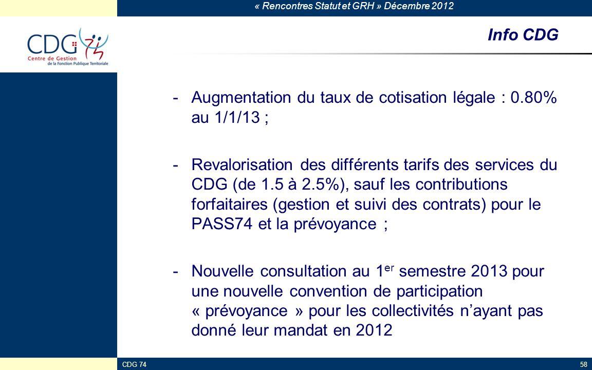 « Rencontres Statut et GRH » Décembre 2012 CDG 7458 Info CDG -Augmentation du taux de cotisation légale : 0.80% au 1/1/13 ; -Revalorisation des différ