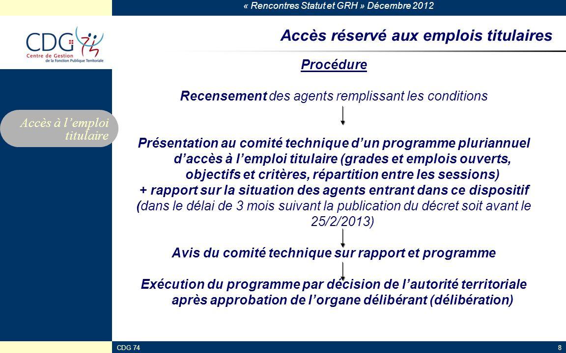 « Rencontres Statut et GRH » Décembre 2012 CDG 748 Accès réservé aux emplois titulaires Procédure Recensement des agents remplissant les conditions Pr