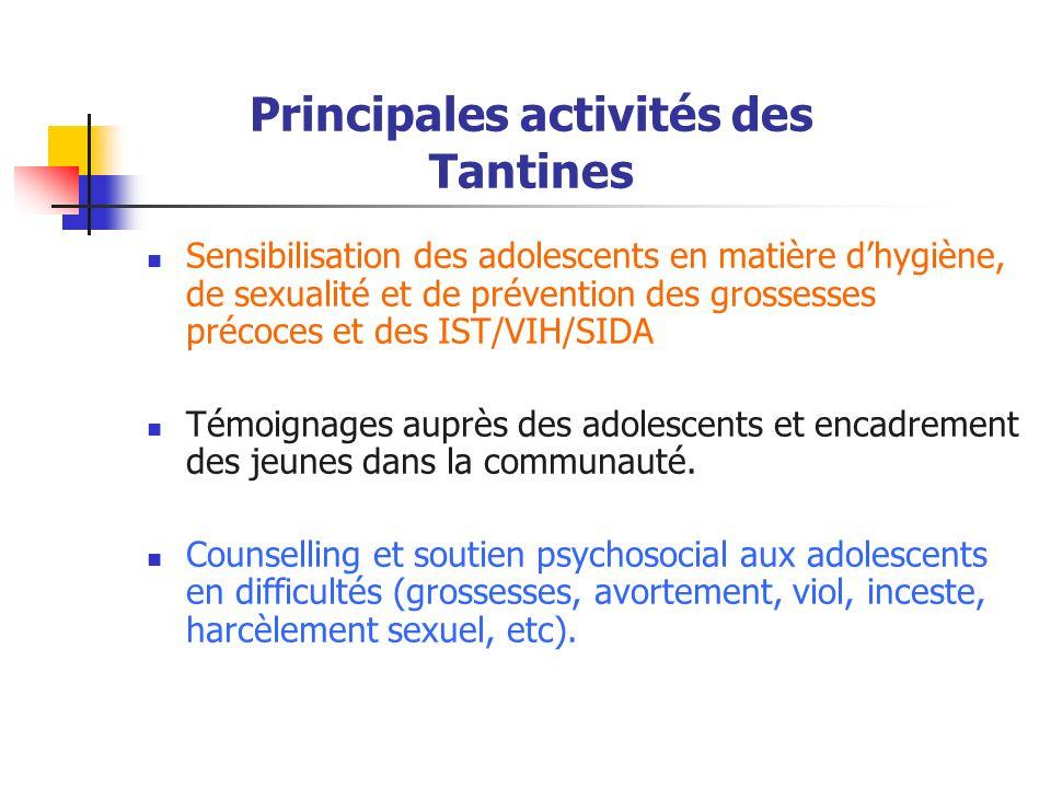 Principales activités des Tantines Sensibilisation des adolescents en matière dhygiène, de sexualité et de prévention des grossesses précoces et des I