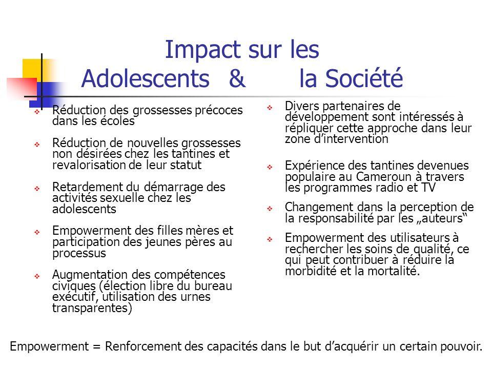 Impact sur les Adolescents& la Société Réduction des grossesses précoces dans les écoles Réduction de nouvelles grossesses non désirées chez les tanti