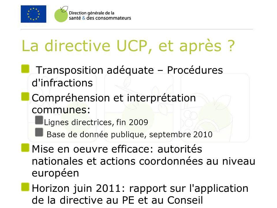 La directive UCP, et après .