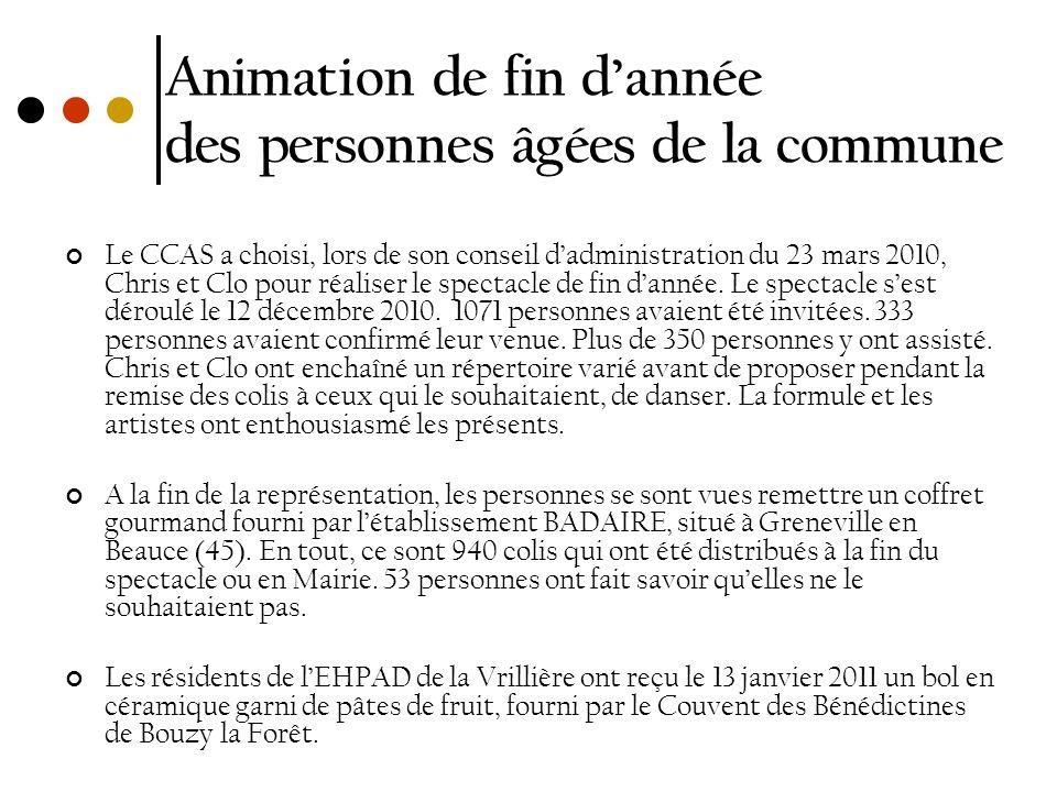 Animation de fin dannée des personnes âgées de la commune Le CCAS a choisi, lors de son conseil dadministration du 23 mars 2010, Chris et Clo pour réa