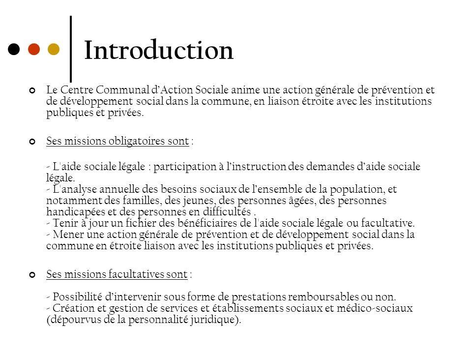 Introduction Le Centre Communal dAction Sociale anime une action générale de prévention et de développement social dans la commune, en liaison étroite