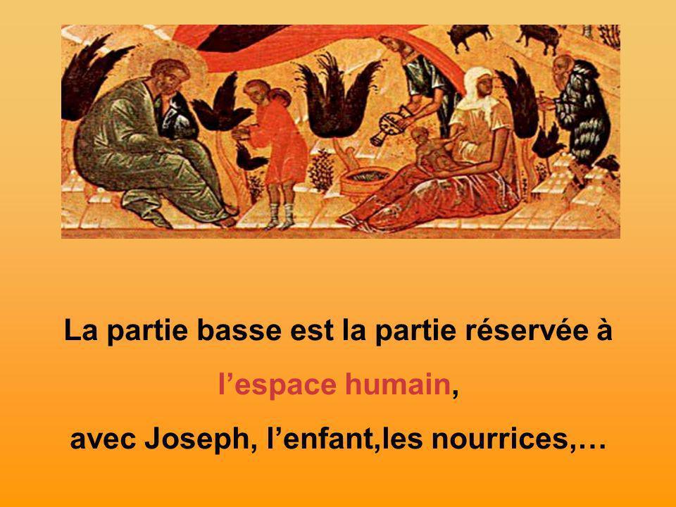 La partie basse est la partie réservée à lespace humain, avec Joseph, lenfant,les nourrices,…