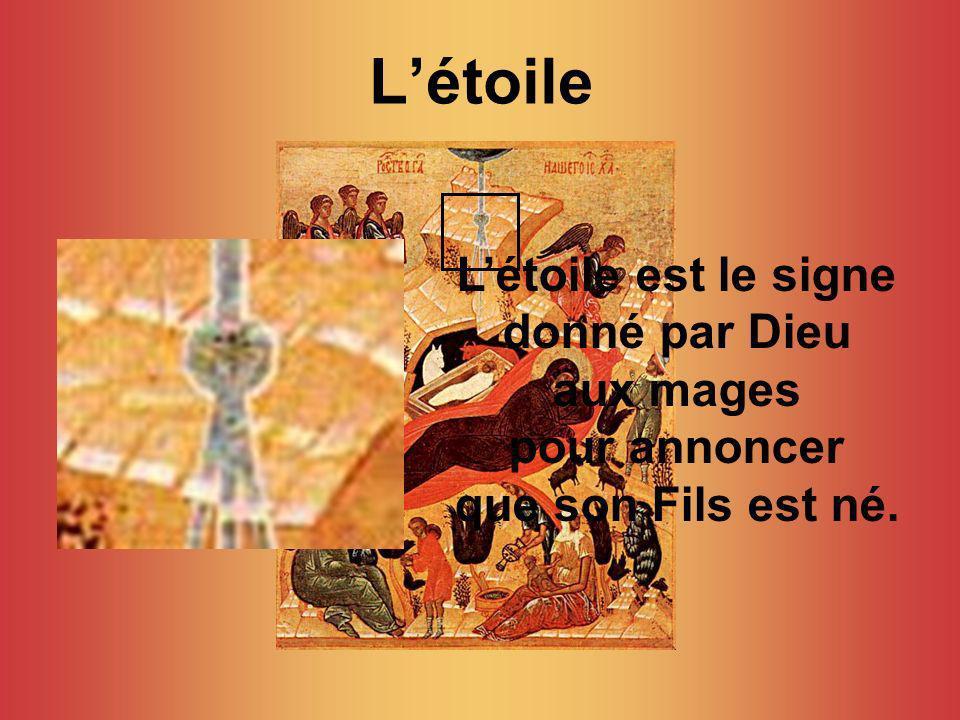 Létoile Létoile est le signe donné par Dieu aux mages pour annoncer que son Fils est né.