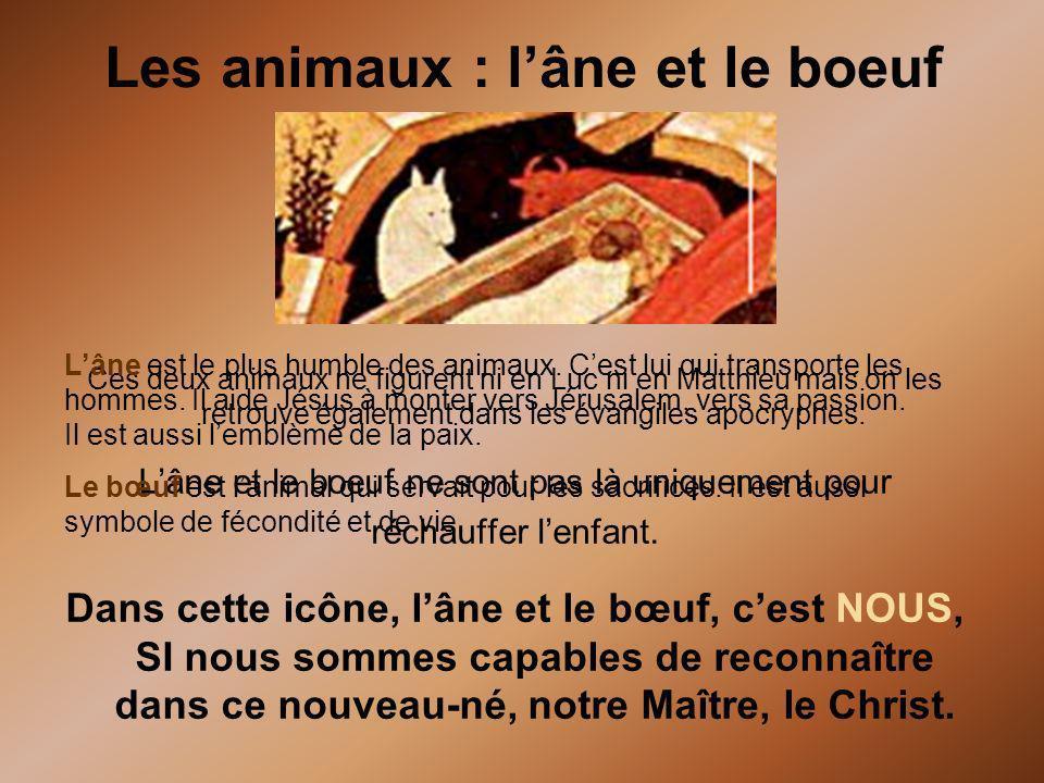 Les animaux : lâne et le boeuf Ces deux animaux ne figurent ni en Luc ni en Matthieu mais on les retrouve également dans les évangiles apocryphes. Lân