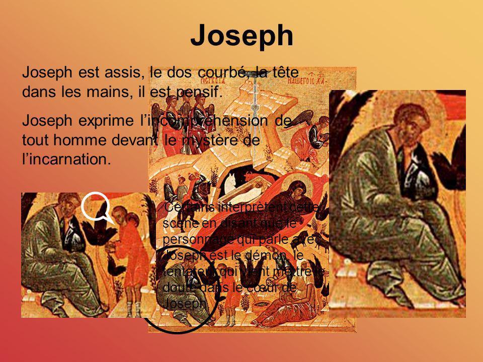 Joseph Joseph est assis, le dos courbé, la tête dans les mains, il est pensif. Joseph exprime lincompréhension de tout homme devant le mystère de linc
