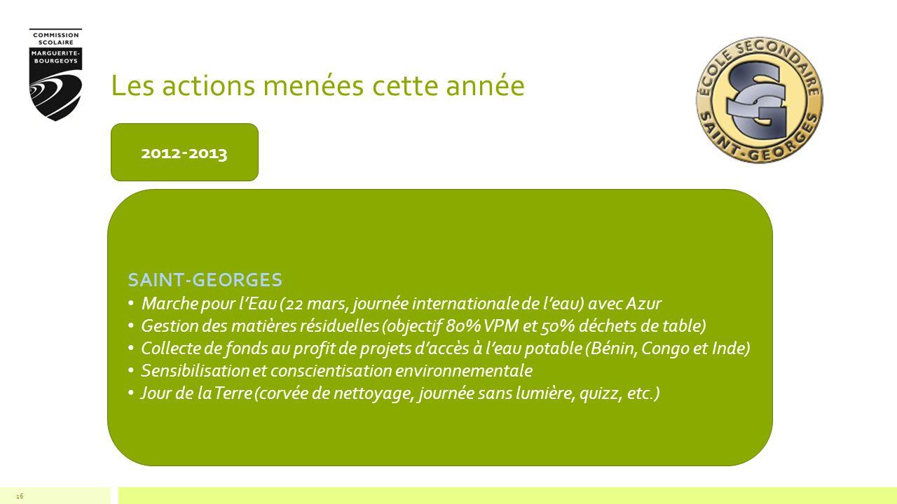 Les actions menées cette année 16 2012-2013 SAINT-GEORGES Marche pour lEau (22 mars, journée internationale de leau) avec Azur Gestion des matières ré